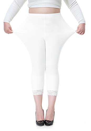 Plus Size Lace Trim Soft Modal Cotton Leggings Workout Tights Pants Cropped Length (Capri Cropped Tights)