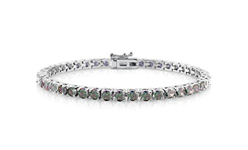 (NYC Sterling Women's Rainbow Fire Shiny Lab Created Topaz Cubic Zirconia Tennis Bracelet)