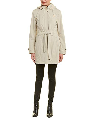 - Via Spiga Women's Stand Collar Belted Fleece Lined Raincoat Stone Small