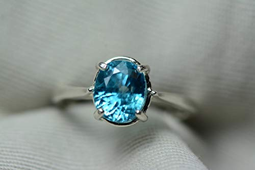 Blue Zircon Ring, Certified 3.75 Carats Appraised At 925.00, Sterling Silver Oval, Real Genuine Natural Zircon Jewelry
