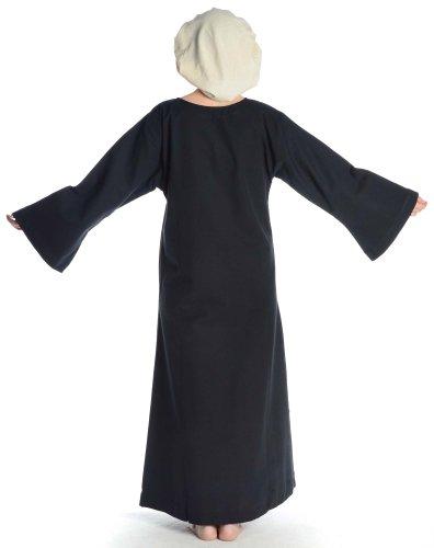 Kleid S mit XL Schwarz HEMAD Damen Damenkleid Grün Skapulier Leinenstruktur schwarz Baumwolle mit Mittelalter 0qEwY