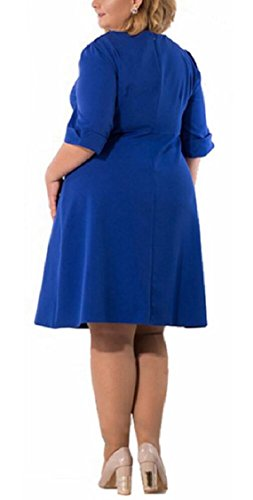 Jaycargogo Femmes Taille Plus Élégante Robe Midi D'été Manches Demi Col Rond Bleu