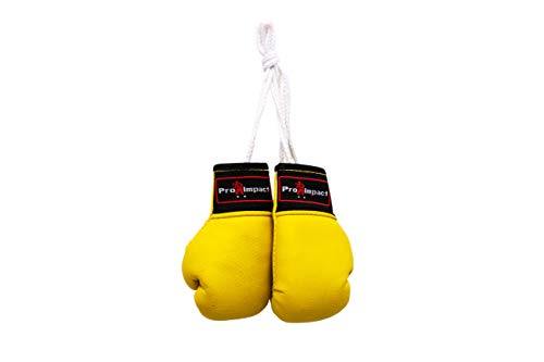(Pro Impact Mini Boxing Gloves - Miniature Punching Gloves - Holiday Christmas Ornament - Hanging Decoration or Souvenir Display - for Home & Car Use - 1 Pair (Yellow))
