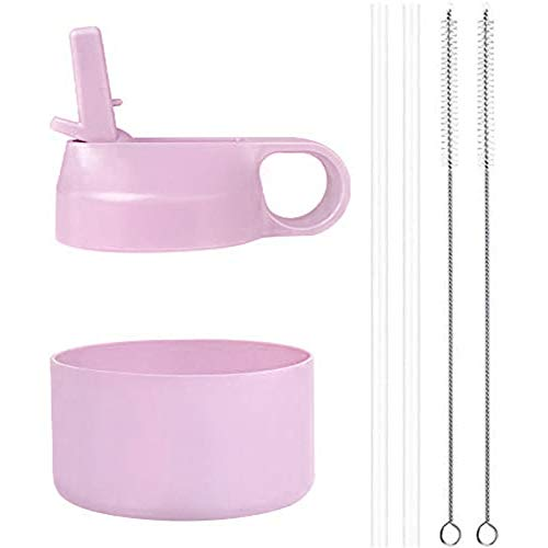 2 Lids 2 Long Straws 2 Brushes in 1 Value Pack, Lilac /& White Top Souls Wide Mouth Straw Lids Compatible with Most Sports Water Bottles