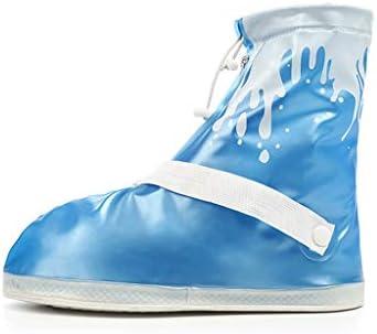 レインブーツ- 靴のカバー滑り止め厚い耐摩耗性下の男性と女性の大人の靴カバー防水屋外の靴カバー (Color : Blue, Size : S)