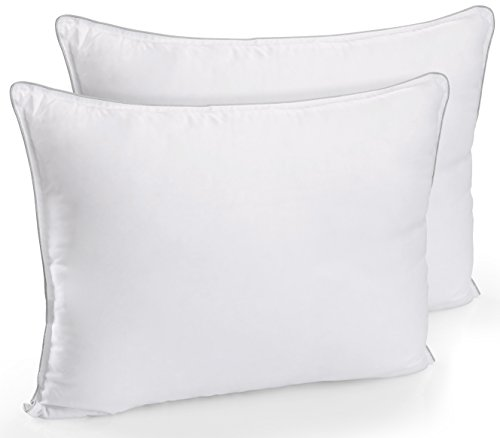 Utopia Bedding Extra Lush Fiber Polyester Filled Bed Pillows (2 Pack) - Standard/Queen Size, Pure Polyester ? Hollow Siliconized Filling Material Retain Shape