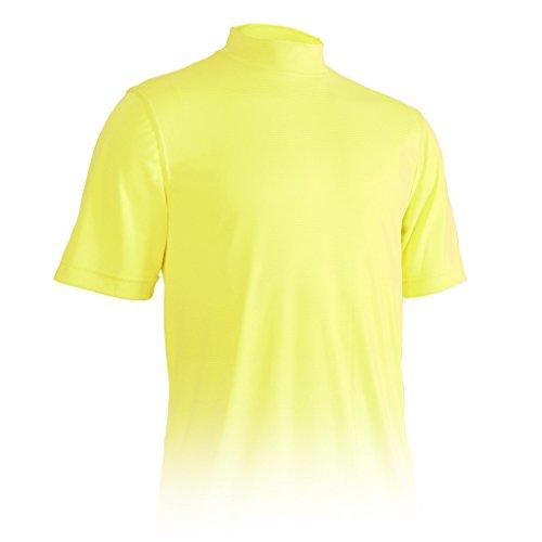 (Monterey Club Mens Dry Swing Tonal Thin Stripe Mock Neck Shirt #3301 (Dijon,)