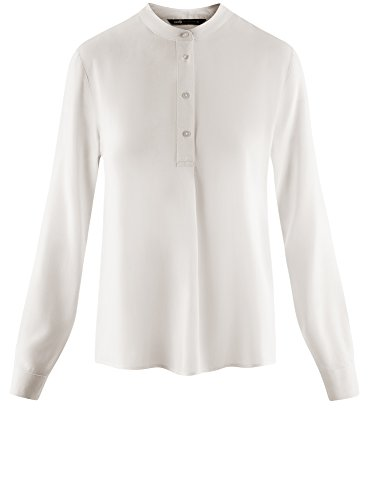 oodji Collection Mujer Blusa de Viscosa de Silueta en A Blanco (1200N)