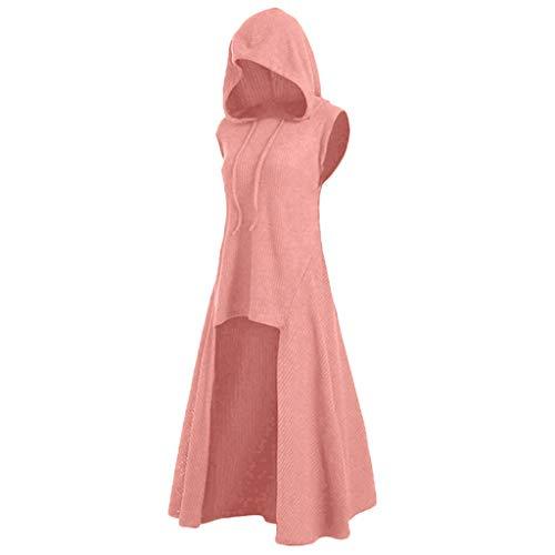 TWGONE Goth Hoodie Women Dress Vintage Sleeveless Asymmetrical Cosplay Knitted Solid Hooded Coat(Medium,Pink)