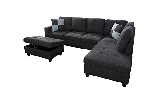 AYCP Fine Furniture Sectional Sofa Couch,L-Shaped Modern Style w/Storage Ottoman 3-Piece for Living Room|Linen Upholstery|(2) Toss Pillows(Right Hand Facing, Black)
