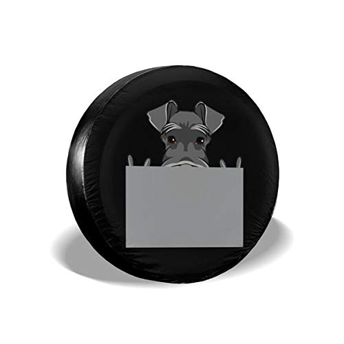 BHSBC.L Schnauzer Dog Rock Gesture Waterproof Spare Tire Cover Dust-Proof Universal Spare Wheel Tire Cover Fit for Jeep, RV, SUV and Many Vehicle (14,15,16,17 Inch)