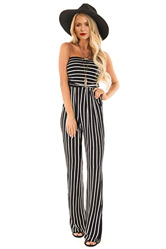 Wxnow Women's Tube Top Sleeveless Striped Wide Legs Casual Pants High Waist Jumpsuit Black Stripes - Stripe Jumpsuit