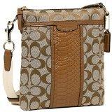 Coach Signature North South Swingpack Crossbody Bag Purse F51781 Khaki / Saddle