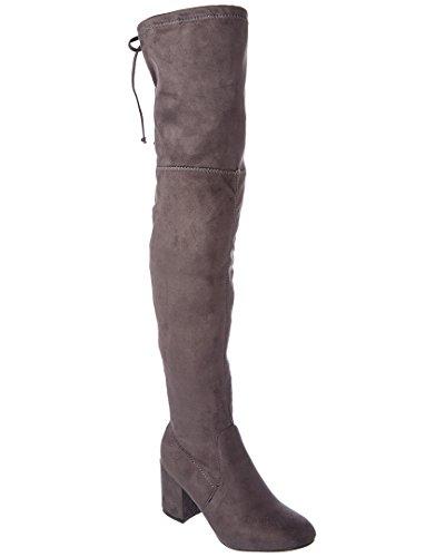 CATHERINE CATHERINE MALANDRINO Porcha Womens Fashion Faux Fur-Lined Over-The-Knee Boots Grey zUIBKFE