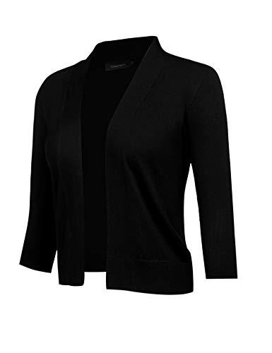 (Freeprance Women's Cardigans 3/5 Sleeve Open Front Knit Cardigan Casual SweaterFSY1_XBK_XL Black)
