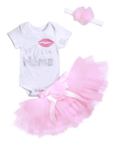 Baby Girl Mother's Day Clothes Letter Short Sleeve Romper +Pink Tutu Skirt +Headband Toddler Summer Outfit Set 6-9 Months