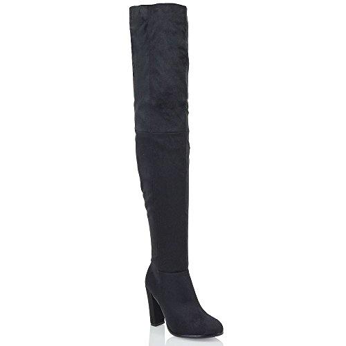hohe stiefeln Schwarz Oberschenkel Blockabsatz Glam Wildlederimitat Essex Frauen 4qwU8qI