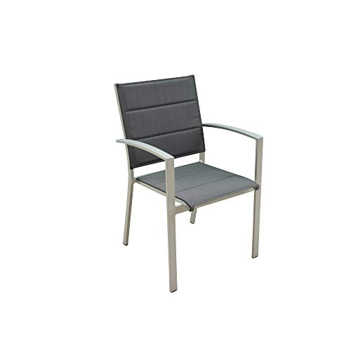Courtyard Casual 5076 Skyline Aluminum Outdoor Padded Dining Chair, 4 pc Set, Grey