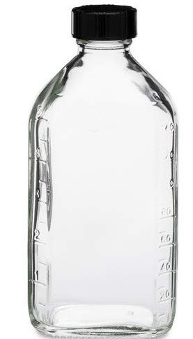 6 Ounce Clear Glass Graduated Oval RX Medicine/Liquor Bottles w/Caps-6 Pack