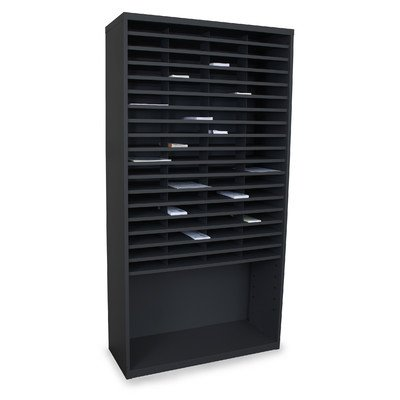 Mailroom Horizontal Sorter with 72 Pockets Finish: Black