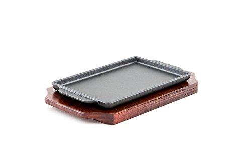 Cast Iron Steak Plate Sizzle Griddle with Wooden Base Steak Pan Grill Fajita Server Plate Restaurant or Home Use (7.5