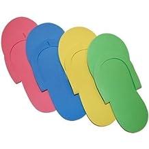 JOVANA 96 Pair Disposable Foam Pedicure Slippers Multi Color Flip Flop Salon Nail Spa