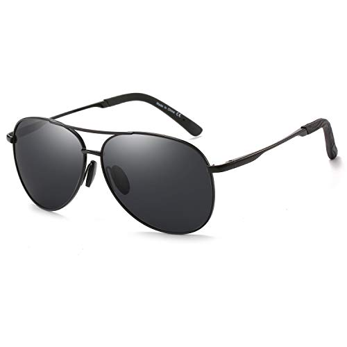 Polarized Aviator Sunglasses for Men and Women-100 UV Protection Mirrored Lens -Metal Frame with Spring Hinges (Black Frame Black Lens) (Polarized Aviator Shades)