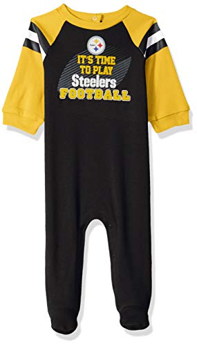 NFL Pittsburgh Steelers Unisex-Baby Sleep 'N Play, Black, 6-9 Months