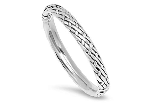 Sterling Silver Hinge Bangle Bracelet with Weave Texture