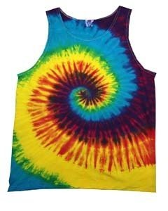 (Tie-Dyed Tie Dye H3500 Unisex H3500 tie dye Adult Swirl Tank 100% Cotton Reactive Rainbow 2XL)