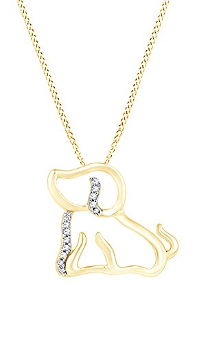 AFFY White Natural Diamond Accents Dog Pendant Necklace in 14k Yellow Gold Over Sterling Silver