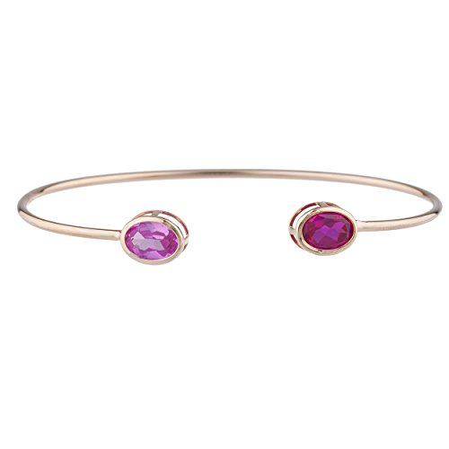 Sapphire Sterling Silver Bangles (Created Ruby & Created Pink Sapphire Oval Bezel Bangle Bracelet 14Kt Rose Gold Plated Over .925 Sterling Silver)