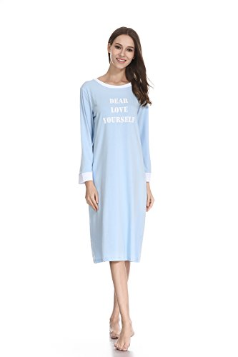 lantisan Cotton Knit Nightgown for Women,Long Sleeved Knee Length Loose Fit Comfy Nightshirt,Sky Blue,L