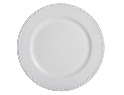 Christmas Tablescape Décor - White round beaded charger plate - Set of 4