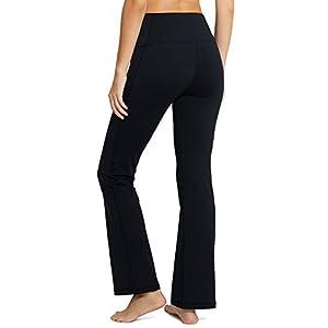 Baleaf Women's Fold Over High Waist Tummy Control Bootleg Yoga Pants Black Size L