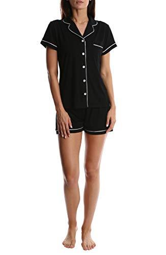- Women's Short Sleeve Button Down Sleep Shirt & Shorts PJ Set - Black - X-Large