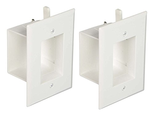 DataComm 45-0008-WH 1-Gang (2 PACK) Recessed Low Voltage Wall Cable Plate - (Recessed Wall Plates)