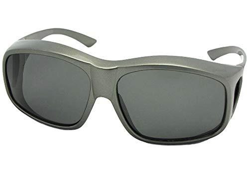 Largest Polarized Fit Over Sunglasses Worn Over Prescription Glasses Style F19 (Gray Frame-Medium Dark Gray Lens, 2 3/4) ()