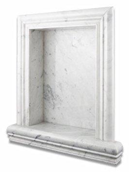 Italian Carrara White Marble Hand-Made Honed Shampoo Niche / Shelf - LARGE