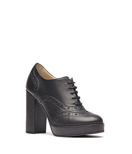 PoiLei Aida - chaussure femme / bottines à lacets en cuir à talon haut epais - avec bout pointu et détails richelieu noir