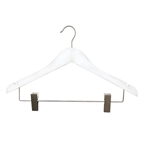 "NAHANCO 261-17RC Flat Wood Suit Hanger, 17"", Low Gloss Wh..."