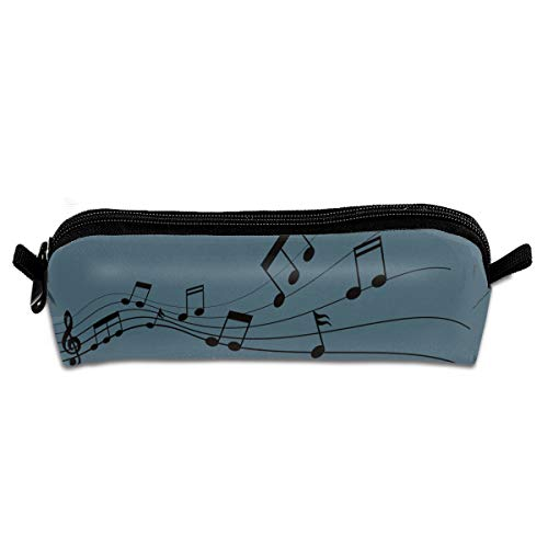 GGlooking Portable Pencil Pouch Music Notes Simple Zipper Bag,Pen Case Office School Supplies Organizer Stationery Holders]()