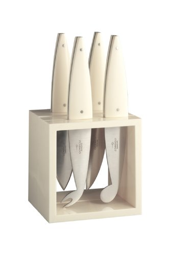Consigli 4-Piece White Metacrylate Handle Cube Cheese Knives Set, 4-Inch Blade by CONSIGLI