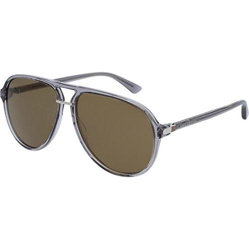 Gucci GG 0015S 005 Transparent Grey Plastic Aviator Sunglasses Green - Acetate Sunglasses Gucci Aviator