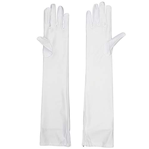 Skeleteen White Satin Opera Gloves - Roaring 20's Fancy Flapper Elbow Gloves - 1 Pair -