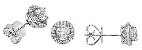 Boucles d'oreilles diamant Halo 18ct or blanc 0.92Ct