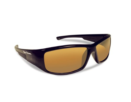 FLYING FISHERMAN 7890BA GAFFER JR. ANGLER POLARIZED SUNGLASSES,  BLACK FRAMES WITH AMBER LENSES