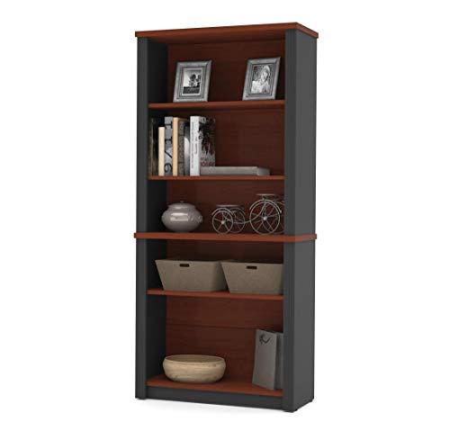 "Bestar Prestige + Modular Bookcase, 5"", Bordeaux/Graphite"