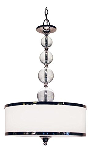 Chrome 3 Light up Lighting Foyer Pendant with Glass Drum Shade