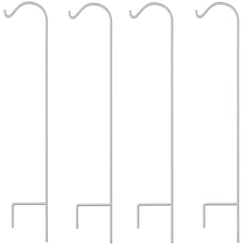 GrayBunny GB-6821 Shepherd Hook, 65 Inch, White, 4-Pack, Premium Extra Thick 1/2 Inch Diameter Rust Resistant Steel Hooks For Hanging Planters, Bird Feeders, Mason Jars, Lanterns and More!